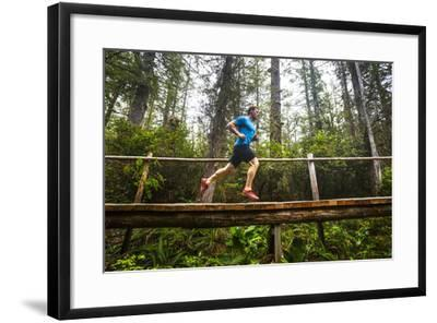 A Man Runs Along The Sand Point Trail Near Ozette, Washington In The Olympic National Park-Ben Herndon-Framed Photographic Print