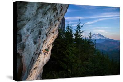 Rustin Gibson Rock Climbs On Steep Sandstone, Small Crag Near Mineral, Washington. Mt Rainier Bkgd-Ben Herndon-Stretched Canvas Print
