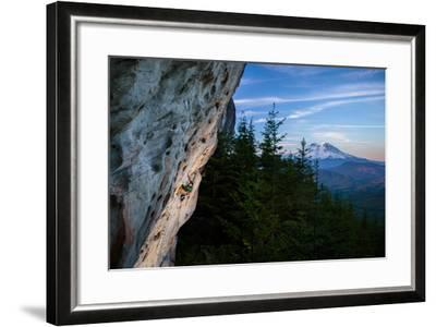 Rustin Gibson Rock Climbs On Steep Sandstone, Small Crag Near Mineral, Washington. Mt Rainier Bkgd-Ben Herndon-Framed Photographic Print