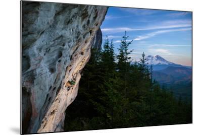 Rustin Gibson Rock Climbs On Steep Sandstone, Small Crag Near Mineral, Washington. Mt Rainier Bkgd-Ben Herndon-Mounted Photographic Print