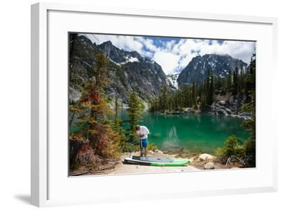 Man Paddle Boards Using Inflatable SUP, Colchuck Lake Alpine Lakes Wilderness Of The Cascade Range-Ben Herndon-Framed Photographic Print