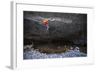 Kyle Vassilopoulos Climbs Out Over A Portion Of The Main Boulder River On Reflective Technique-Ben Herndon-Framed Photographic Print