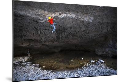Kyle Vassilopoulos Climbs Out Over A Portion Of The Main Boulder River On Reflective Technique-Ben Herndon-Mounted Photographic Print
