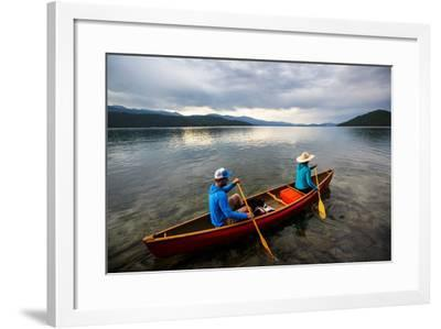 Man & Woman Paddle A Canoe While Shilo The Dog Enjoys The Ride At Sunrise On Priest Lake In N Idaho-Ben Herndon-Framed Photographic Print