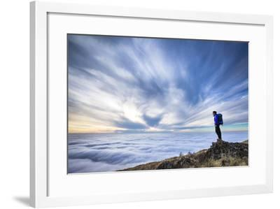 A Female Backpacker Stands On A Rocky Outcrop Above The Clouds At Steptoe Butte, Eastern Washington-Ben Herndon-Framed Photographic Print
