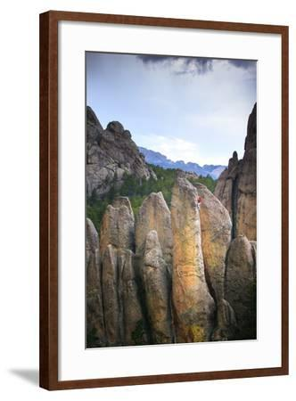 Aaron Stetzer Climbing Rum And Coke In The Scenic Black Hills In Near Mt Rushmore In South Dakota-Ben Herndon-Framed Photographic Print