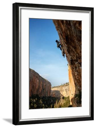 A Man Rock Climbs In The Beautiful Limestone Canyons Of Chulilla, Spain-Ben Herndon-Framed Photographic Print