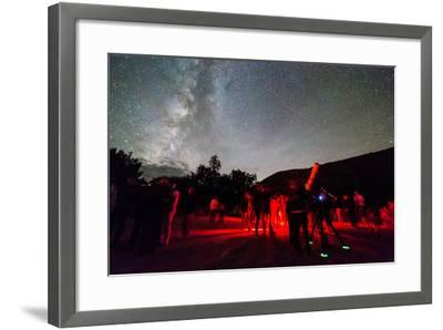 A Star Party Taking Place Below A Brilliant Night Sky, Capitol Reef National Park, Utah-Mike Cavaroc-Framed Photographic Print