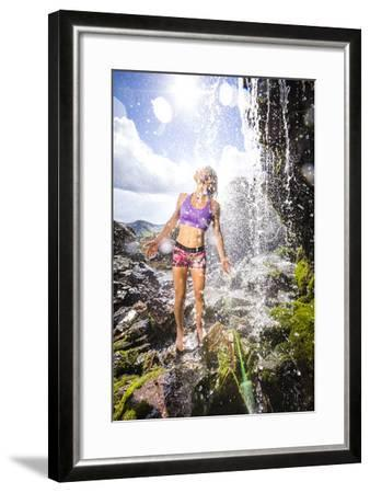 Mayan Smith-Gobat Seeks Refreshment From A Waterfall In The High Rockies Above Marble, Colorado-Dan Holz-Framed Photographic Print