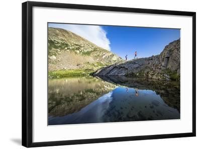 Mayan Smith-Gobat & Ben Rueck Go For High Elevation Trail Run, Backcountry Of Above Marble, CO-Dan Holz-Framed Photographic Print