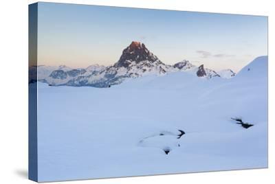 Pic Du Midi D'Ossau And Lac Gentau In Winter. Pyrenees National Park. Aquitaine. France-Oscar Dominguez-Stretched Canvas Print