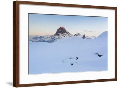Pic Du Midi D'Ossau And Lac Gentau In Winter. Pyrenees National Park. Aquitaine. France-Oscar Dominguez-Framed Photographic Print