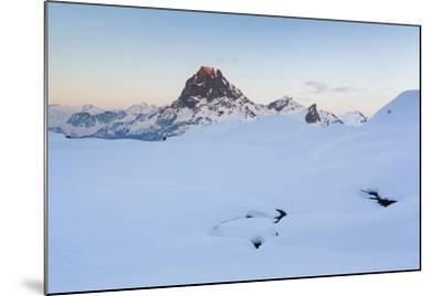 Pic Du Midi D'Ossau And Lac Gentau In Winter. Pyrenees National Park. Aquitaine. France-Oscar Dominguez-Mounted Photographic Print