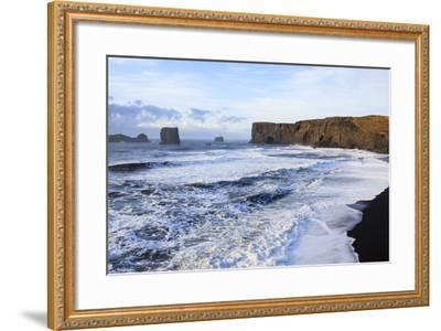 Waves Washing Over Black Beach At The Vik Coastline Looking Toward Dyrholaey. Vik. Iceland-Oscar Dominguez-Framed Photographic Print