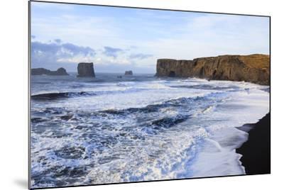 Waves Washing Over Black Beach At The Vik Coastline Looking Toward Dyrholaey. Vik. Iceland-Oscar Dominguez-Mounted Photographic Print