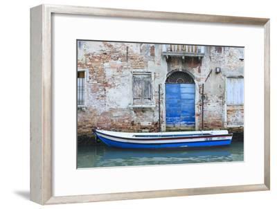 Boat And Blue Door. Venice. Venezia Province. Veneto. Italy-Oscar Dominguez-Framed Photographic Print