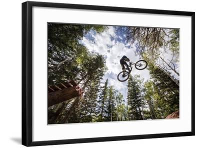 Mike Montgomery Jumping His Downhill Mountain Bike At Canyons Resort-Louis Arevalo-Framed Photographic Print