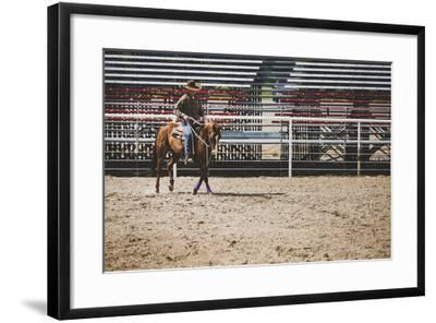 Brian Billings Exercising His Horse At The Oakley Rodeo Grounds, Oakley, Utah-Louis Arevalo-Framed Photographic Print