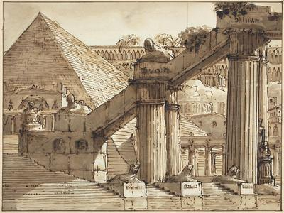 Egyptian Stage Design, 1800-10-Pietro Gonzaga-Framed Giclee Print
