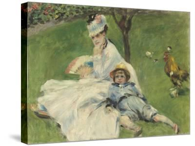 Madame Monet and Her Son, 1874-Pierre-Auguste Renoir-Stretched Canvas Print