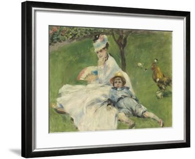 Madame Monet and Her Son, 1874-Pierre-Auguste Renoir-Framed Giclee Print