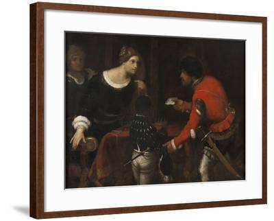 Caterina Cornaro, Queen of Cyprus, Receiving a Letter from the Council-Giuseppe Caletti-Framed Giclee Print