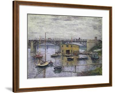 Bridge at Argenteuil on a Gray Day, c.1876-Claude Monet-Framed Giclee Print