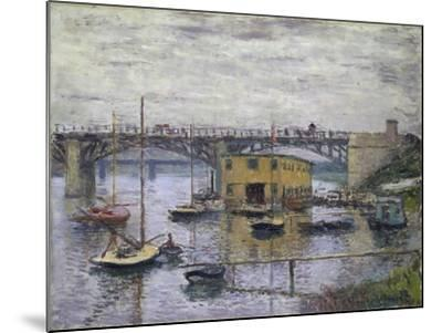 Bridge at Argenteuil on a Gray Day, c.1876-Claude Monet-Mounted Giclee Print