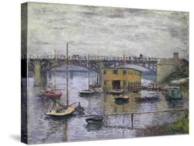 Bridge at Argenteuil on a Gray Day, c.1876-Claude Monet-Stretched Canvas Print