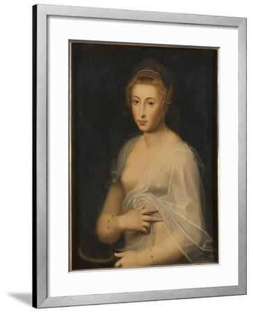 Young Lady Holding a Mirror-French School-Framed Giclee Print