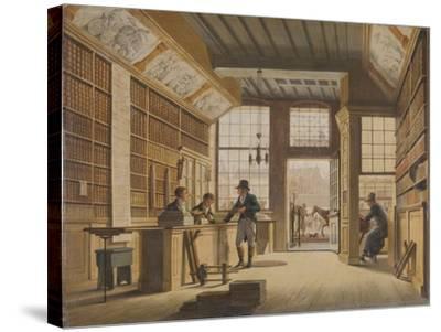 Shop of the Bookdealer Pieter Meijer Warnars on the Vijgendam in Amsterdam, 1820-Johannes Jelgerhuis-Stretched Canvas Print