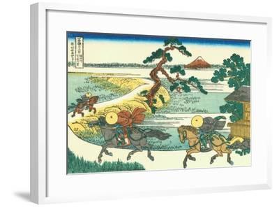 Village of Sekiya at Sumida River, c.1830-Katsushika Hokusai-Framed Giclee Print