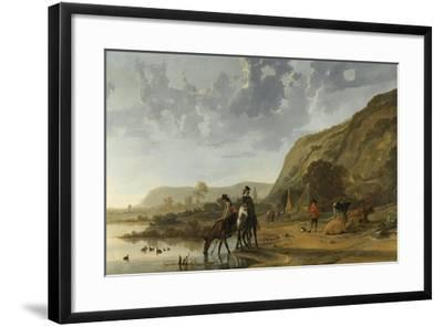 River Landscape with Riders, 1653-7-Aelbert Cuyp-Framed Giclee Print