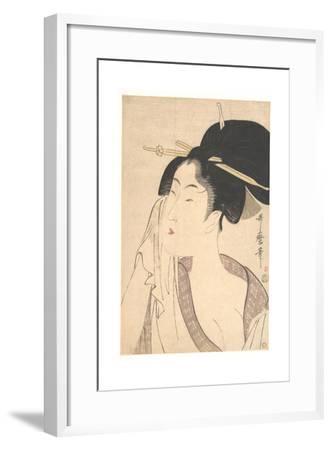 Woman Relaxing after Her Bath, 1790s-Kitagawa Utamaro-Framed Giclee Print