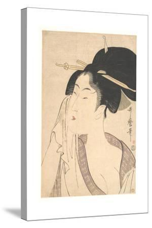 Woman Relaxing after Her Bath, 1790s-Kitagawa Utamaro-Stretched Canvas Print