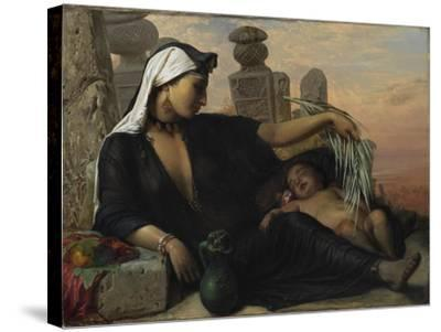 An Egyptian Fellah Woman with her Baby, 1872.-Elisabeth Maria Anna Jerichau-Baumann-Stretched Canvas Print