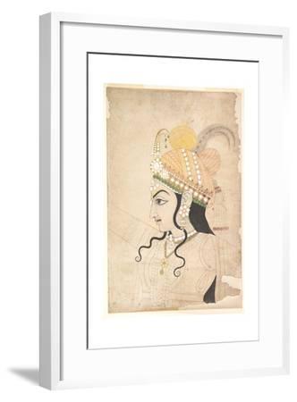 Head of Krishna: Cartoon for a Mural of the Raslila, c.1800-Indian School-Framed Giclee Print