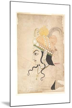 Head of Krishna: Cartoon for a Mural of the Raslila, c.1800-Indian School-Mounted Giclee Print