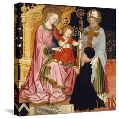Madonna and Child with the Donor, Pietro de' Lardi, Presented by Saint Nicholas, c.1420-30- Master GZ-Stretched Canvas Print