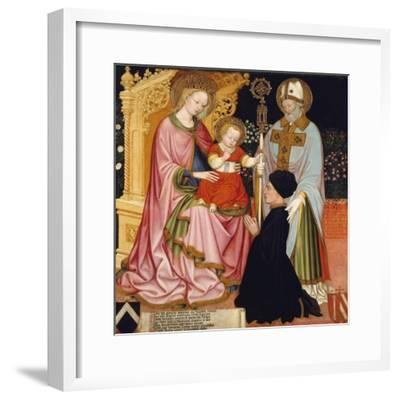 Madonna and Child with the Donor, Pietro de' Lardi, Presented by Saint Nicholas, c.1420-30- Master GZ-Framed Giclee Print