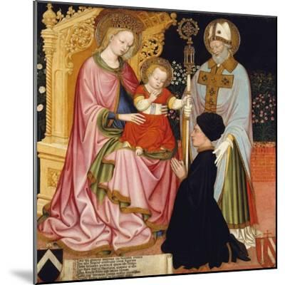 Madonna and Child with the Donor, Pietro de' Lardi, Presented by Saint Nicholas, c.1420-30- Master GZ-Mounted Giclee Print