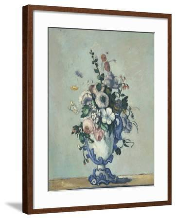 Flowers in a Rococo Vase, c.1876-Paul Cezanne-Framed Giclee Print