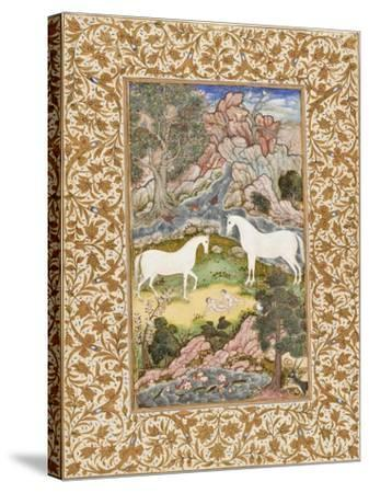 Birth of the Celestial Twins, c.1585-90-Mughal School-Stretched Canvas Print