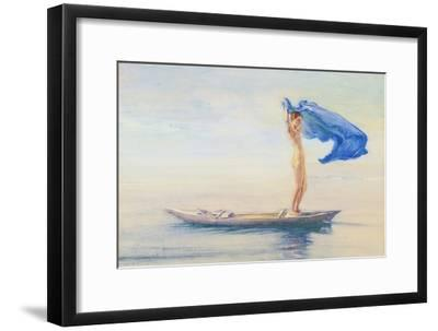 Girl in Bow of Canoe Spreading Out Her Loin-Cloth for a Sail, Samoa, c.1895-96-John La Farge or Lafarge-Framed Giclee Print