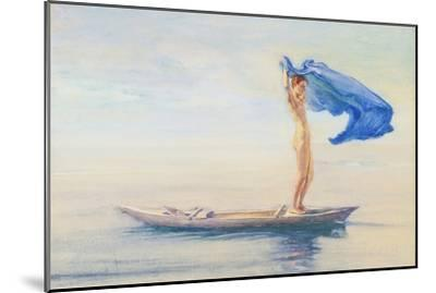 Girl in Bow of Canoe Spreading Out Her Loin-Cloth for a Sail, Samoa, c.1895-96-John La Farge or Lafarge-Mounted Giclee Print