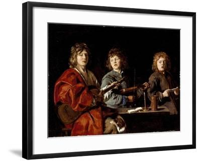 Three Young Musicians, c.1630-Antoine Le Nain-Framed Giclee Print