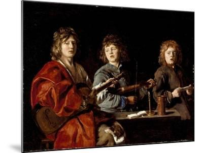 Three Young Musicians, c.1630-Antoine Le Nain-Mounted Giclee Print
