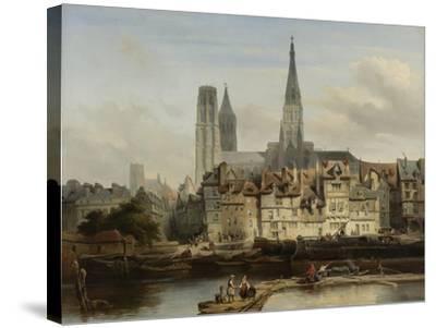 The Quay de Paris in Rouen, Johannes Bosboom, 1839-Johannes Bosboom-Stretched Canvas Print