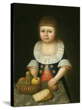 Boy with a Basket of Fruit, c.1790-American School-Stretched Canvas Print