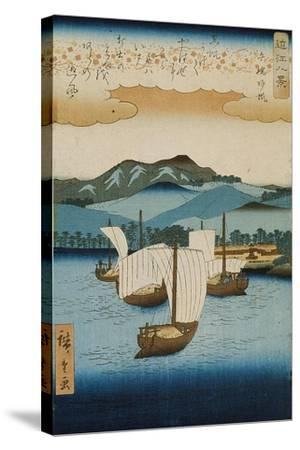 Returning Sails at Yabase from the Series Eight Views of Omi, c.1855-8-Ando or Utagawa Hiroshige-Stretched Canvas Print